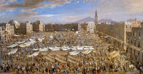 Piazza Mercato a Napoli, presentazione itinerante nell'ambito di Migrantour Napoli